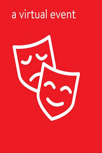 a virtual event; drawing of sad and smiling theatre masks in white on red background