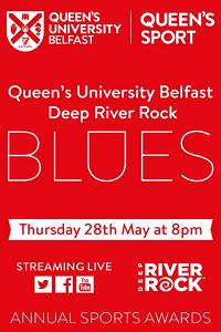 Queen's University Belfast Deep River Rock Blues advert, white on red