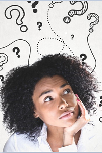 Young woman resting her chin on her hand, looking up at thought bubbles with question marks