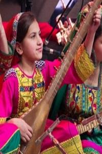 Young girl playing sitar