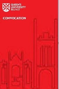 Queen's University Belfast Convocation, partial drawing of Lanyon Building on red background
