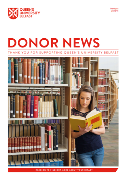 Donor News 2021 cover 'Female in the Library'