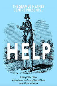 The Seamus Heaney Presents... Help advert. Drawing of man carrying man with crutches on his shoulders