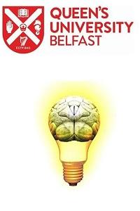 Queen's University Belfast shield, light bulb lit with brain inside