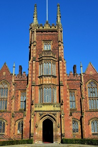Main tower of lanyon building with blue sky behind