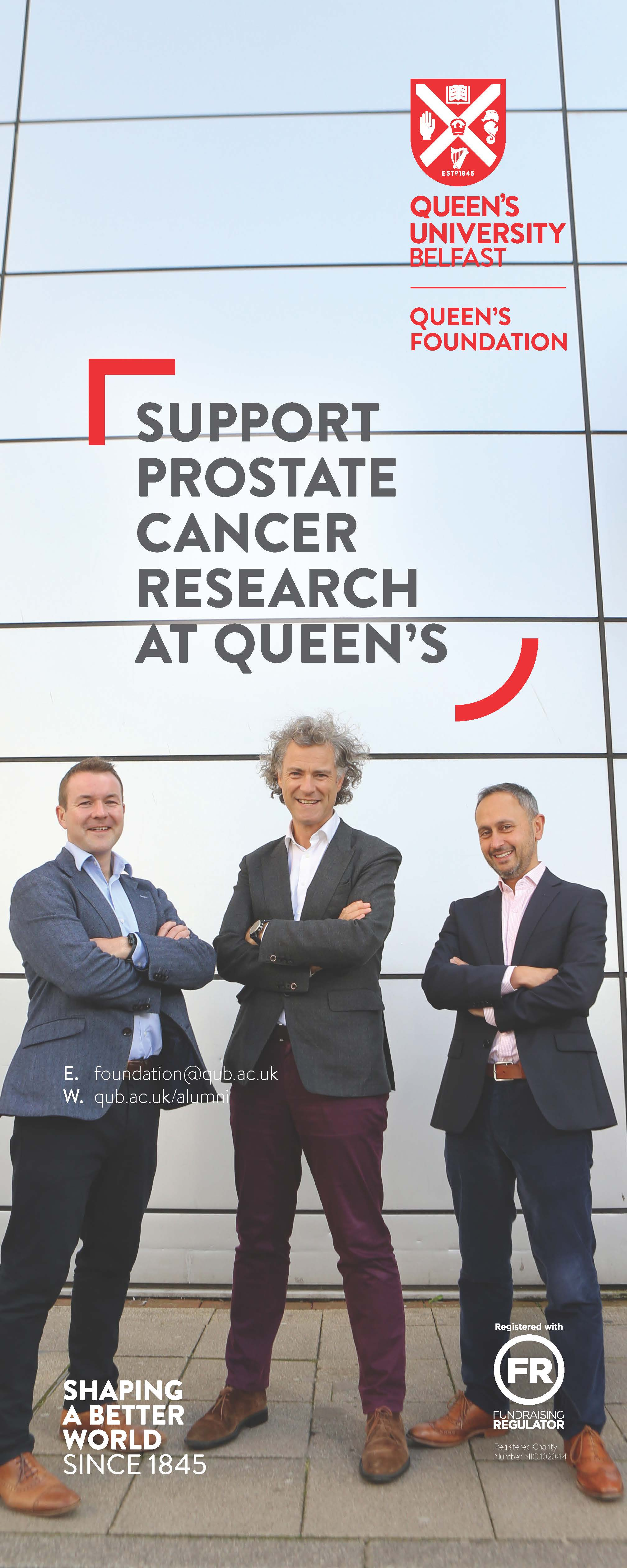 Three cancer researchers standing outside the Patrick G Johnson Centre for Cancer Research