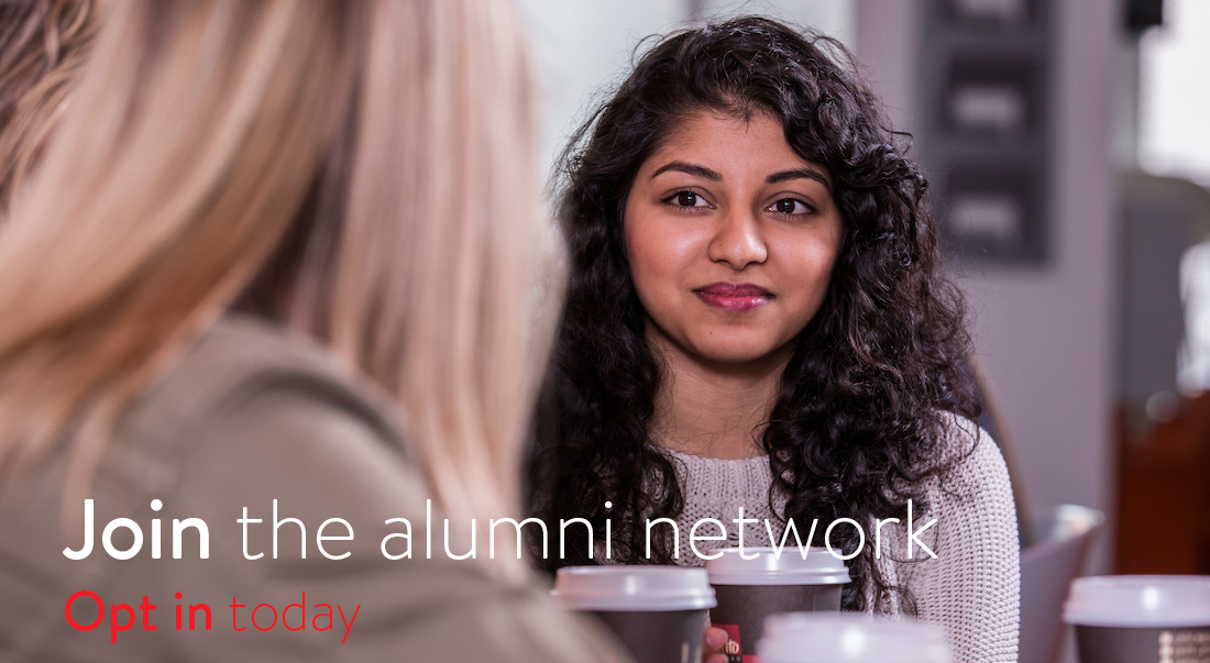 Join the alumni network, Opt in Today text on image of two women, one facing camera, theother with her back to it.