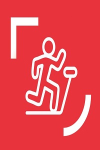 Queen's Sport icon, Stick figure running on treadmill, white on red