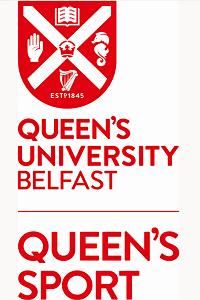 Queen's Sport logo in red with University crest