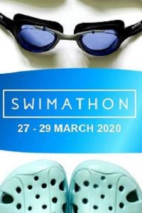 Swimming goggles, Swimathon banner and toes of Crocs