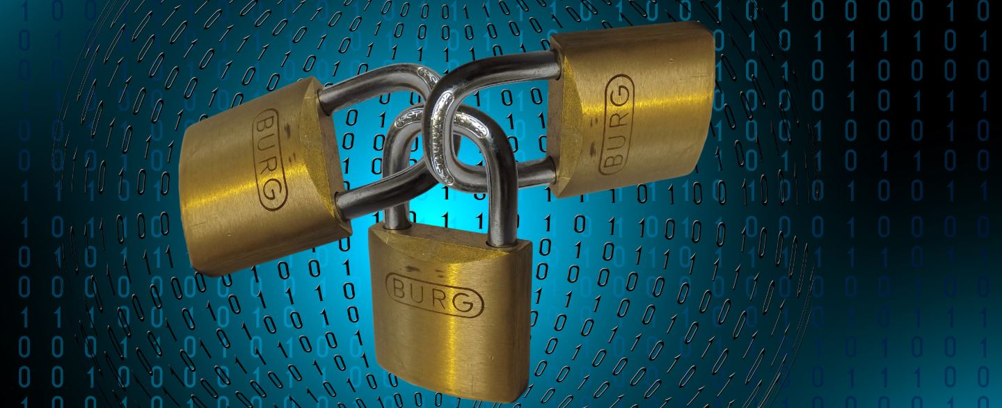 Cyber security image with three brass padlocks over numerous ones and zeros