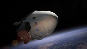 SpaceX spaceship orbiting earth