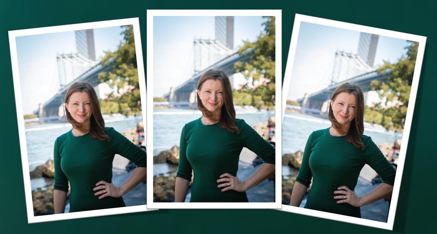 Christine McKenna-Tirella dressed in green with New York bridge in background