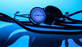 Stethoscope and blood pressure device in shades of blue