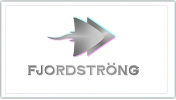 Fjordstrong logo - depiction of grey skate over a grey triangle pointed right viewed from above