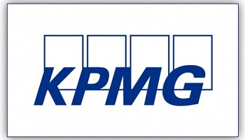 KPMG logo in blue uppercase letters, in italics, against four rectangles in background