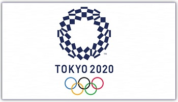Tokyo 2020 Olympic Games logo comprising a circle of three varieties of rectangular shapes, represents different countries, cultures and ways of thinking, plus (beneath) 5 Olympic rings in red, yellow, blue, black and green