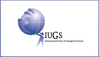 International Union of Geological Sciences logo - stylised globe held up by stylised figure