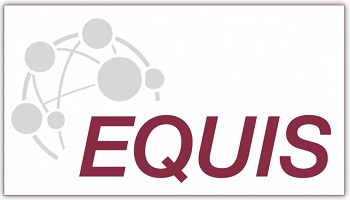 EQUIS logo in maroon, with globe depiction of earth in background in grey