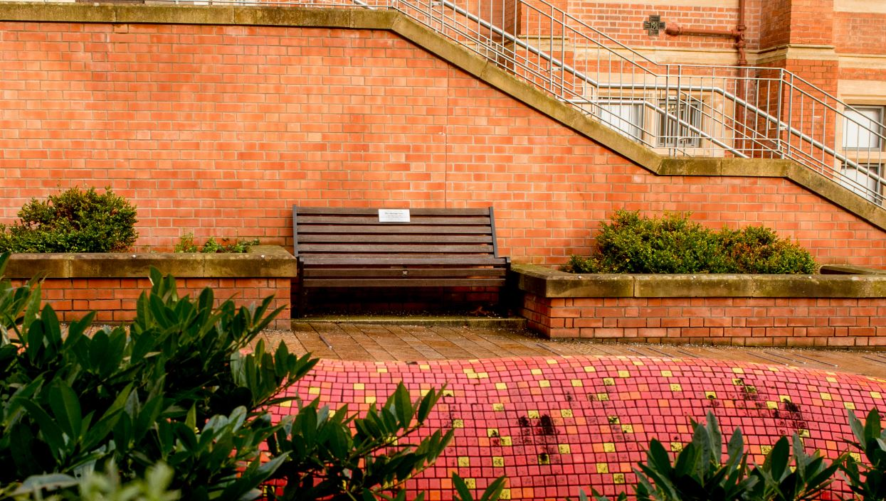 Bench with donor plaque affixed, in front of red brick wall outside the Physics and Maths Building at Queen's, with foliage around
