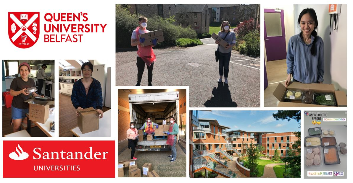 Collage of 8 staff and students making and receiving Santander meal deliveries in halls of residence