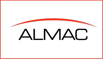 ALMAC logo with red crescent line above letters