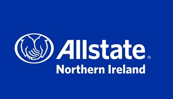 Allstate Northern Ireland logo in white on blue, with overlapping hands inside an oval
