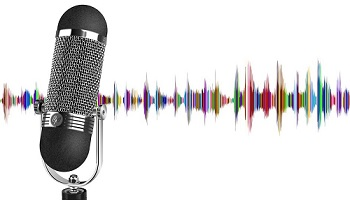 Microphone pictured in front of colourful frequency transmission depiction