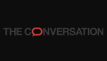 The Conversation logo - red Q on black background