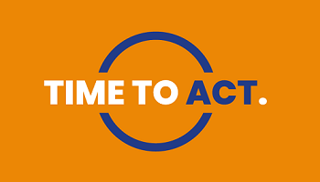 Time to Act logo - Time To lettering in white, Act in blue, full stop in white and circle in blue on mustard background