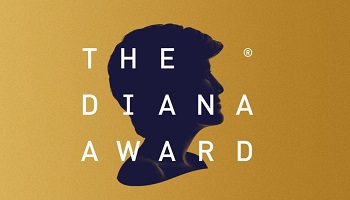 Silhouette of Princess Diana facing right against golden background with wording The Diana Award