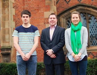 QGA President Jonny Hill with 2012-13 scholarship winners Dermot Dignam and Roisin Brown in front of the Lanyon Building.
