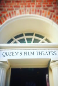 Queen's Film Theatre, semicircle window pane above entrance