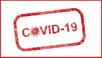 COVID-19 stamp in red